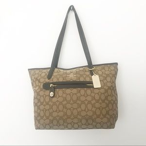 Coach tote bag signature canvas and leather Brown